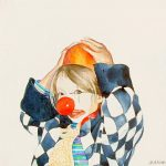 Sophie le clown - Aquarelle on Canvas 20x20